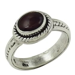 natural garnet semi precious gemstone silver ring