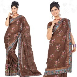 Brown Faux Georgette Saree With Blouse