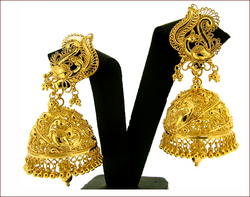 Gold Filigree Peacock Jhumkas