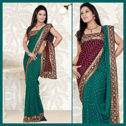 Turquoise Faux Georgette Saree With Blouse (109)
