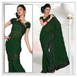 Deep Green Faux Georgette Saree With Blouse (215)