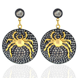 14k Gold Diamond Scorpion Earrings