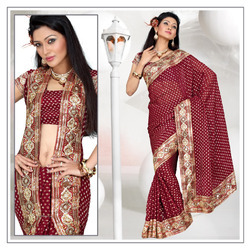 Mesmerizing Maroon Viscose Saree With Blouse (191)