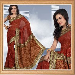Rust Faux Georgette Saree With Blouse