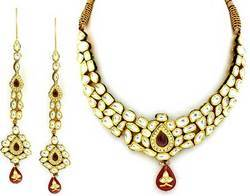 Gold Kundan Jewellery | Gold Kundan Meena Patra Necklaces, Pandal