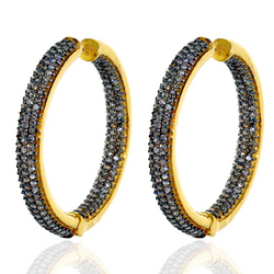 Designer Pave Hoop Earrings