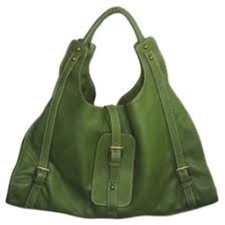 Green Color Leather Bags