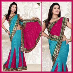 Sky Blue Viscose Lehenga Style Saree With Blouse (136)
