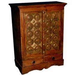 2 Drawer Brass worked Cabinet