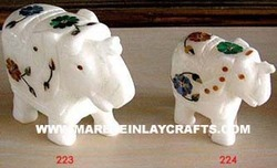 stone inlay elephant statue