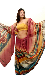 Faux Georgette Shimmer Saree