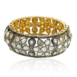 14k Yellow Gold Pave Rose Cut Diamond Bangles