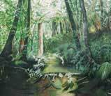 nature painting deep green forest