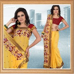 Sunny Yellow Faux Georgette Saree With Blouse