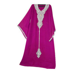 Pink Kaftan With Silver Work