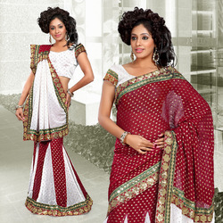 Maroon Viscose Lehenga Style Saree With Blouse (234)