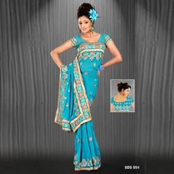 Turquoise Color Contemporary Sarees