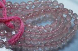 Rose Quartz Micro Faceted Round Rondelles