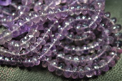 Coated Pink Amethyst Faceted Rondelles