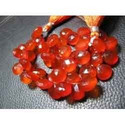 Orange Chalcedony Faceted Heart Shape Briolettes