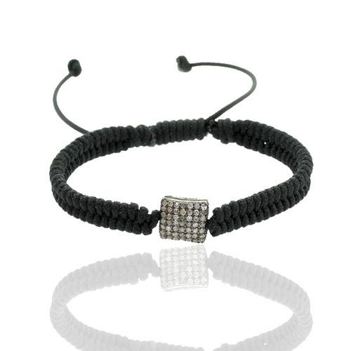 Pave Diamond Silver Bead Macrame Bracelet