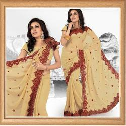 Suede Beige Faux Georgette Saree With Blouse