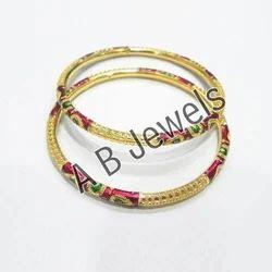 Gold Meenakari Bangles Design Set