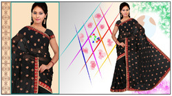 Atrous Black Faux Georgette Saree (224)