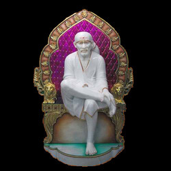 Marble Sai Baba Statue Seated On Singhasan