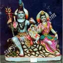 marble painting shiv parvati with ganesh