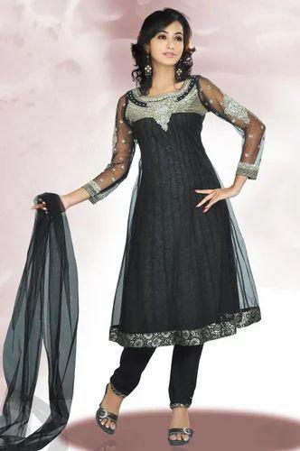 Sareegalaxy - Black Net Churidar Frock Style...