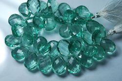 Green Amethyst Color Quartz Faceted Pear Briolettes