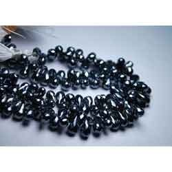 Mystic Silver Black Spinel Faceted Tear Drops