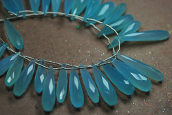 Aqua Color Chalcedony Faceted Long Pear