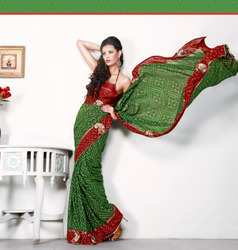 Majesty Aloe Vera Green & Brick Red Embroidered Saree