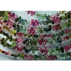 Tourmaline Faceted Tear Drops Shape, Strand 8 inches