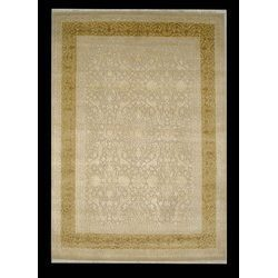 Wool & Silk Carpet: Ivory-Gold