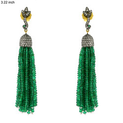 Emerald Tassel Earring Set