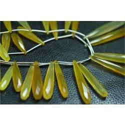 New Yellow Chalcedony Faceted Long Drops Briolettes
