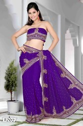 Embroidered Half And Half Sarees