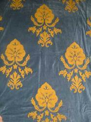 Crewel Fabric Konark Gold on Indigo Blue Cotton Velvet