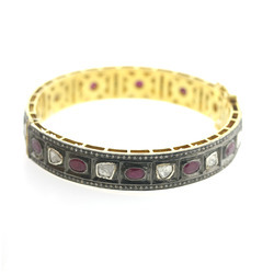 Pave Rose Cut Diamond Gold Gemstone Ruby Wedding Bangles