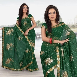 Forest Green Faux Georgette Saree With Blouse