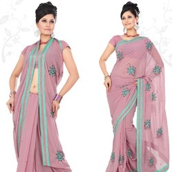 Mauvelous Faux Georgette Saree With Blouse