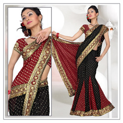 Atrous Black Faux Georgette Lehenga Saree With Blouse (205)