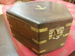 Wooden Box With Brass Inlaid