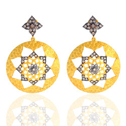 18k Gold Pave Diamond Designer Earring