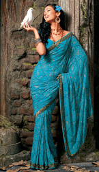 Blue Georgette Party Wear Saree With Attractive Copper Border