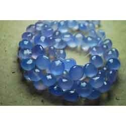 Blue Chalcedony Faceted Onion  Briolettes 7-8 mm
