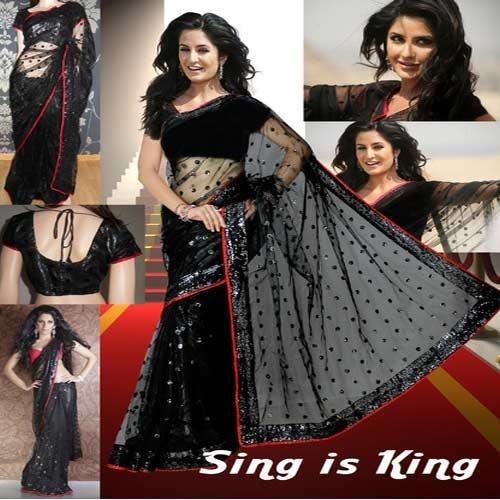 Black-Red Net Saree
